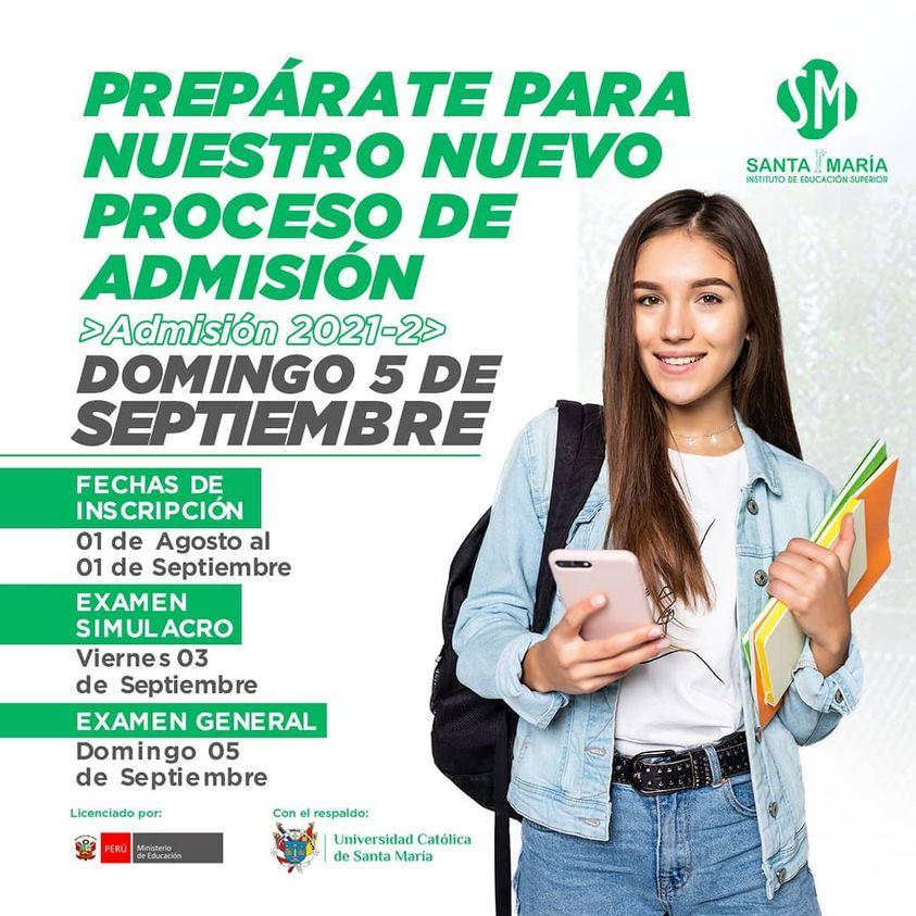 UCSM Instituto de Educación Superior Santa María apertura inscripciones para el Proceso de Admisión 2021- II